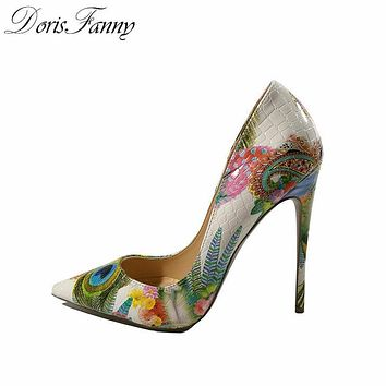 Women Girls High Heels Printed Multi Color Stilettos 262f639d1d86