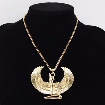 Gold Plated Egyptian Isis Pendant Necklace