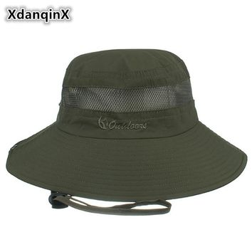 XdanqinX Unisex Mesh Breathable Bucket Hats Summer Big Brim UV Resistant Beach Hat For Men Women Wind Rope Fixed Couple Hat