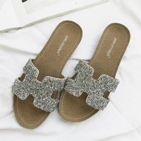 Hermes Women Fashion Rhinestone Slipper Flats Shoes