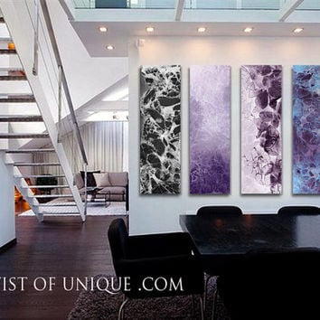 Huge abstract Wall Art, - Multiple panel CUSTOM Abstract Paintings, Large abstract artwork, - Black., Purple, White, blue