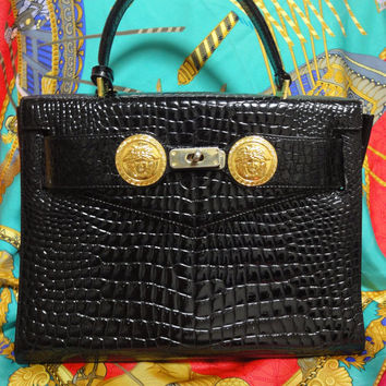 Vintage Gianni Versace black croc embossed enamel leather Kelly style bag with Medallion Sunburst charms . Gorgeous masterpiece