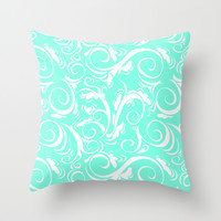 Mint Floral Throw Pillow by Beautiful Homes
