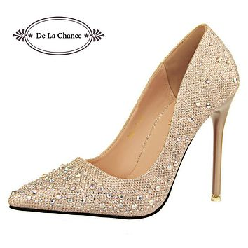 Women Silver Rhinestone Wedding Shoes Platform Pumps Red Bottom High Heels Crystal Shoes Gold Black Pink