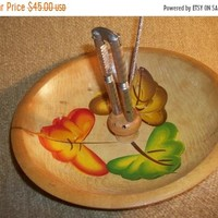 Wood Nut Bowl with Metal HMQ Nutcracker Tools Hand Painted Fall Leaves Wooden Footed Serving Bowl Decorative Wood Home Decor FREE SHIPPING