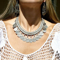 Bohemian Gypsy Love  Coin Necklace Silver Coin Choker Bib Statement Fringe Turkish  (Size: 180 g, Color: Silver) = 1928465796