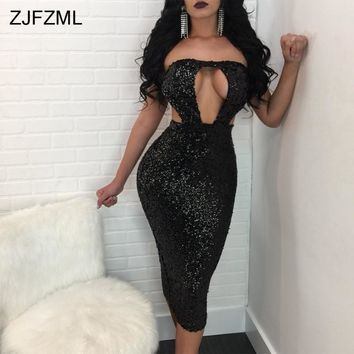 ZJFZML Off The Shoulder Sexy Bodycon Dress Women Strapless Hollow Out Sequined Dress Summer Backless Sleeveless Party Dress