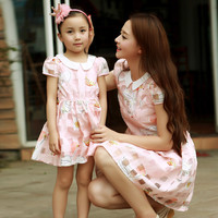 New Fashion Cotton Dresses Family Clothing Dresses for Mummy Daughter Girls Summer Dresses Family Matching Dress YZ07