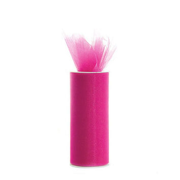 Tulle Spool Roll Fabric Net, 6-inch, 25-yard, Fuchsia