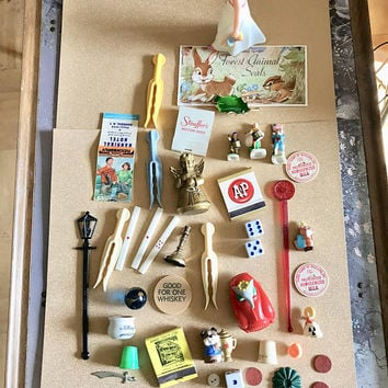 Vintage junk drawer lot instant collection plastic clothespin milk cap matchbook stickers
