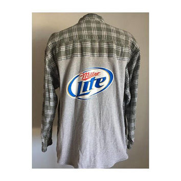 Reworked Miller Lite Flannel, Handmade Clothing, Beer Shirt, Plaid Shirt, T Shirt, Oversized Flannel, Unisex, Suggested Size Large