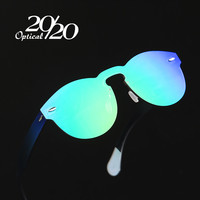 20/20 Brand Designer Sunglasses Women UV400 Retro Female Round Rimless Glasses Travel Men Eyewear Gafas Ocuols PC1602