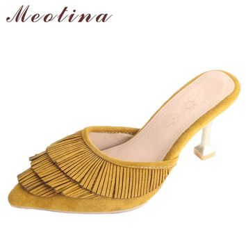 Meotina Women Pumps High Heels Slippers Tassel Kitten Heels Ladies Mules Shoes 2018 Spring Party Shoes Yellow Large Size 33-43