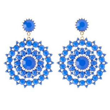Cobalt Faceted Stone Statement Drop Earrings by Charlotte Russe