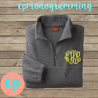 Monogram Quarter-Zip Fleece Pullover Jacket UNISEX