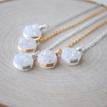 Mystic White Druzy Necklace, White Druzy Jewelry, Druzy Necklace