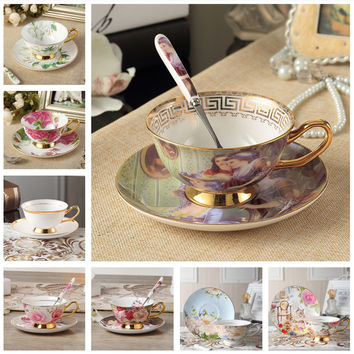 Luxury Bone China Coffee Tea Cup And Saucer Spoon Set