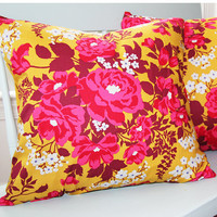 "Fall Flower Pillow Cover 18x18 Decorative Pillow ""Color Me Crazy"" Collection"