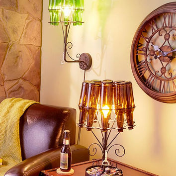 Beer Bottle Light Lamp Chandelier Mancave Sports Cabin Great Gift