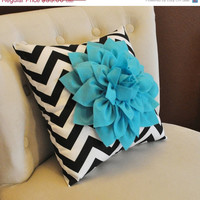 MOTHERS DAY SALE Light Turquoise Dahlia on Black and White Zigzag Pillow -Chevron Pillow-