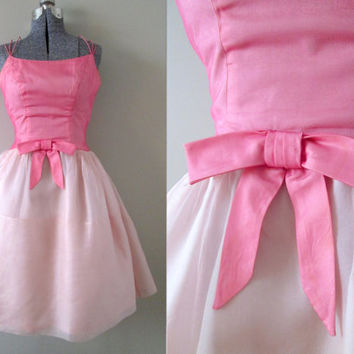 Emma Domb Vintage 50s Candy Pink Prom Dress - Designer Chiffon Circle Skirt Cupcake Ballerina Tulle Easter Wedding Party Formal Ballet