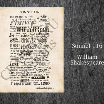 Sonnet 116 Printable, William Shakespeare Sonnet 116 Print,  Valentine's Day, Wall Art, Vintage, Shakespeare, Love Poem, Poetry Print