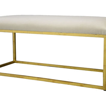 "Moss Studio, Block 40"" Velvet Bench, Snow, Entryway Bench, Bedroom Bench"