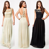 Women Fashion Backless Lace Chiffon Dresses Black Long Maxi Party Dress = 1931495236