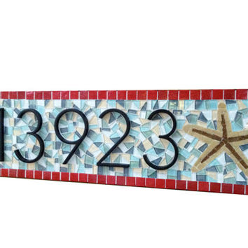 House Number Plaque with Starfish -- Beach House Address Sign -- Custom Mosaic