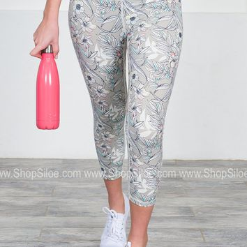 Athletic Sports Capris | Grey Floral