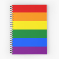 'Gay Pride Rainbow Flag' Spiral Notebook by Julia Gorst