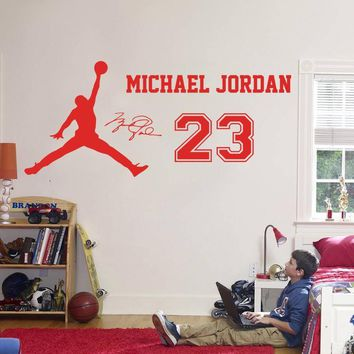 2016 New design Michael Jordan Wall Sticker Vinyl DIY home decor Basketball star Decal