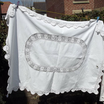 vintage rustic tablecloth white crochet edging lace boho bohemian floral country cottage large shabby chic