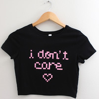 I Don't Care Pixel Black Graphic Crop Top