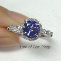 Round Tanzanite Engagement Ring Pave Diamond Wedding 14K White Gold 7mm  Art Deco Claw Prongs