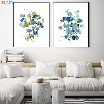 Abstract Green and Blue Eucalyptus Prints Botanical Watercolor Painting Wall Art Fresh Canvas Painting for Bedroom Decor Framed