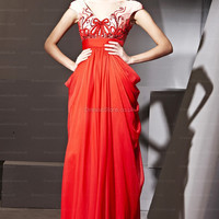 A-line V-neck Chiffon Floor-length Red Beading Evening Dress at dressestore.co.uk