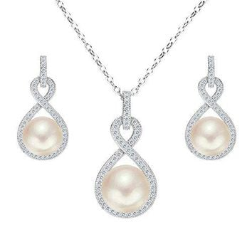SHIP BY USPS:  925 Sterling Silver CZ AAA Button Cream Freshwater Cultured Pearl Infinity Bridal Jewelry Necklace Earrings Set