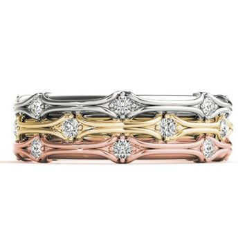 Emelia Stackable 3/4 Eternity Tri-Tone Gold 3-Band Set
