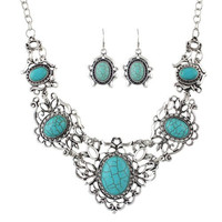 Turquoise Faux Gem Cut Out Necklace and Earrings