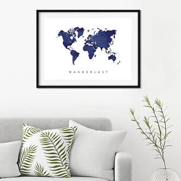 Wanderlust, World Map Poster, Watercolor Print, Instant Download, Digital Download, Wedding Gift, Travel Map, Large size, Travel Poster