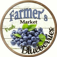 Farmer's Market Fresh Blueberries Circular 12 inch  Sign