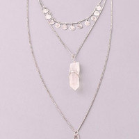 Silver Triple Strand Necklace with Crystal