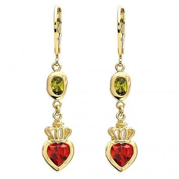 Gold Layered 02.65.2518 Long Earring, Heart and Crown Design, with Peridot and Garnet Cubic Zirconia, Polished Finish, Gold Tone