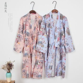 Japanese Kimono Cosplay Traditional Cotton Bathrobes Japan Kimono Flower Yukata Women Bath Robe Floral Sleepwear 011603