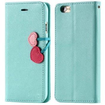 Sweet candy color girly cherry stand flip leather case with card slots for iPhone 6 6 Plus 5s 5 5c 4s 4/Samsung Galaxy S6 S5 S4 S3 Note 4 Note 3 Note 2  [7955439815]