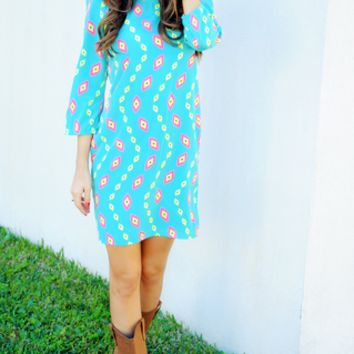Hooked On Your Love Dress: Blue/Multi | Hope's