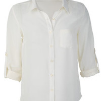 Solid Button-Down Chiffon Blouse - Ivory