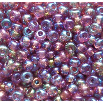 One pkg 24 grams Light Amethyst AB, Purple Czech 6/0 glass seed beads, size 6 Preciosa Rocaille 4mm spacer beads, large, big hole C8424