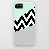 Mint & Gray Chevron Block iPhone Case by daniellebourland